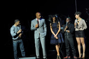 (L-R) Rapper Nelly, actor Boris Kodjoe, model Selita Ebanks, actor Kevin Hart and actress Cynthia Kaye McWilliams speak onstage at the BET Networks 2013 New York Upfront on April 16, 2013 in New York City.
