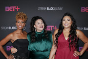 Ryan Michelle Bathe, Michelle Buteau and Tracy Oliver attend the BET+ red carpet and launch party at NeueHouse Los Angeles on September 19, 2019 in Hollywood, California.