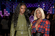 Leomie Anderson (L) and Sandra Lambeck attend BET's Social Awards 2018 at Tyler Perry Studio on February 11, 2018 in Atlanta, Georgia.