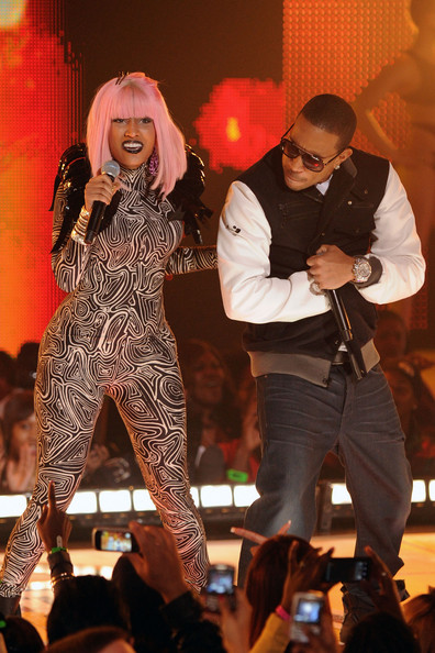 (L-R) Recording artists Nikki Minaj and Ludacris performs onstage BET's Rip The Runway 2010 at the Hammerstein Ballroom on February 27, 2010 in New York City.