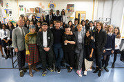 BFC launch fashion studio apprenticeship with ambassadorial president, David Beckham and ambassador for positive fashion, Adwoa Aboah pictured here with designers, school staff and Caroline Rush (r) Chief Executive of the British Fashion council on September 23, 2019 in London, England.