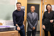 David Beckham and Adwoa Aboah surprise pupils as the BFC launch fashion studio apprenticeship with ambassadorial president, David Beckham,  ambassador for positive fashion, Adwoa Aboah and designers Richard Quinn, Rosh Mahtani and Paolino Russo at Prendergast Vale School on September 23, 2019 in London, England.