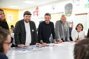 David Beckham (c) and Richard Quinn (l) as the BFC launch fashion studio apprenticeship with ambassadorial president, David Beckham,  ambassador for positive fashion, Adwoa Aboah and designers Richard Quinn, Rosh Mahtani and Paolino Russo at Prendergast Vale School on September 23, 2019 in London, England.