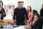 BFC launch fashion studio apprenticeship with ambassadorial president, David Beckham at Prendergast Vale School on September 23, 2019 in London, England.