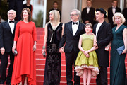 """Frank Marshall, Kathleen Kennedy, Kate Capshaw, Steven Spielberg, Ruby Barnhill, Mark Rylance and  Claire van Kampen  attend """"The BFG (Le Bon Gros Geant - Le BGG)"""" premiere during the 69th annual Cannes Film Festival at the Palais des Festivals on May 14, 2016 in Cannes, France."""
