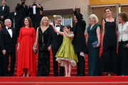 """Frank Marshall, Kathleen Kennedy, Kate Capshaw, Steven Spielberg, Ruby Barnhill, Mark Rylance, Claire van Kampen, Lucy Dahl and Penelope Wilton attend """"The BFG (Le Bon Gros Geant - Le BGG)"""" premiere during the 69th annual Cannes Film Festival at the Palais des Festivals on May 14, 2016 in Cannes, France."""