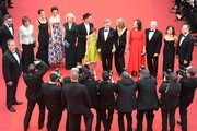 """(FromL) New Zealander actor Jemaine Clement, British actress Penelope Wilton, British screenwriter Lucy Dahl, British actress Rebecca Hall, British composer Claire van Kampen, British actor Mark Rylance, US actress Ruby Barnhill, US director Steven Spielberg and his wife US actress Kate Capshaw, US producer Kathleen Kennedy, US producer Frank Marshall and US producer Kristie Macosko pose on May 14, 2016 as they arrive for the screening of the film """"The BFG"""" at the 69th Cannes Film Festival in Cannes, southern France.  / AFP / Antonin THUILLIER"""