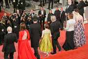 """(L-R) Frank Marshall, Kathleen Kennedy, Mark Rylance, Ruby Barnhill, Steven Spielberg, Penelope Wilton and Rebecca Hall attend """"The BFG (Le Bon Gros Geant - Le BGG)"""" premiere during the 69th annual Cannes Film Festival at the Palais des Festivals on May 14, 2016 in Cannes, France."""