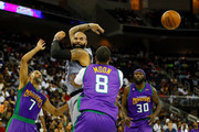 Carlos Boozer #5 of the Ghost Ballers throws a pass against the 3 Headed Monsters during week eight of the BIG3 three on three basketball league at Infinite Energy Arena on August 10, 2018 in Duluth, Georgia.