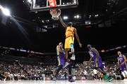 C.J. Leslie #5 of Bivouac dunks against Rashard Lewis #9 of 3 Headed Monsters during week four of the BIG3 three-on-three basketball league at Barclays Center on July 14, 2019 in the Brooklyn borough of New York City.