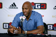 Chauncey Billups of Killer 3's speaks to the media during BIG3 - Week Four at Little Caesars Arena on July 13, 2018 in Detroit, Michigan.