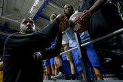Chauncey Billups #1 of the Killer 3s signs autographs for fans during week seven of the BIG3 three on three basketball league at Rupp Arena on August 6, 2017 in Lexington, Kentucky.