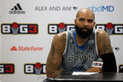 Carlos Boozer #4 of the Power speaks to the media after beating the Enemies 50-41 during week seven of the BIG3 three on three basketball league at Allstate Arena on August 03, 2019 in Chicago, Illinois.