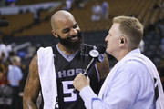 Carlos Boozer #5 of Ghost Ballers laughs during an interview with Fox Sports after his game against Trilogy during the BIG3 three on three basketball league at Scotiabank Arena on July 27, 2018 in Toronto, Canada.
