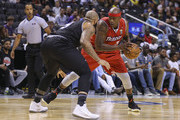 Al Harrington #3 of Trilogy makes a play against Carlos Boozer #5 of the Ghost Ballers during the BIG3 three on three basketball league at Scotiabank Arena on July 27, 2018 in Toronto, Canada.