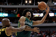 Josh Childress #7 of the Ball Hogs attempts a shot while being guarded by Chauncey Billups #1 of the Killer 3s during week six of the BIG3 three on three basketball league at American Airlines Center on July 30, 2017 in Dallas, Texas.
