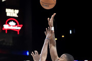 Joe Johnson #1 of Triplets takes a shot over C.J. Leslie #5 of Bivouac during week three of the BIG3 three on three basketball league at State Farm Arena on July 07, 2019 in Atlanta, Georgia.