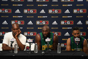 (L-R) Head coach Gary Payton, Reggie Evans #30 and Mahmoud Abdul-Rauf #7 of 3 Headed Monsters speak at a postgame press conference during week three of the BIG3 three on three basketball league game at ORACLE Arena on July 6, 2018 in Oakland, California.