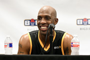 Chauncey Billups #1 of the Killer 3s speaks to the media during week three of the BIG3 three on three basketball league at BOK Center on July 9, 2017 in Tulsa, Oklahoma.