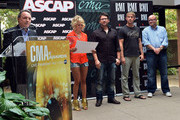 """BMI's Jody Williams, co-writers Carrie Underwood, Chris DeStefano, Ashley Gorley and producer Mark Bright, attend the BMI/ASCAP # 1 party for """"GOOD GIRL"""" performed by Carrie Underwood, at the CMA offices on August 28, 2012 in Nashville, Tennessee."""