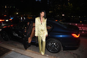 Chanel Iman arrived to NYFW: The Shows at Spring Studios in a custom-branded BMW 7 series sedan on September 10, 2019 in New York City.
