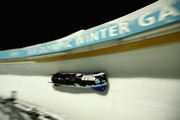 Nick Cunningham, Ryan Bailey, Christopher Kinney and Samuel Michener of the USA compete in the 4-Man Bobsled during the BMW IBSF Bobsleigh and Skeleton World Cup at Utah Olympic Park on November 17, 2017 in Park City, Utah.