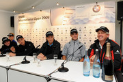 Luke Donald of England, Rory McIlroy of  Northern Ireland, Henrik Stenson of Sweden, Bernhard Langer of Germany, Martin Kaymer of Germany and Colin Montgomerie of Scotland during a press conference prior to The BMW International Open Golf at The Munich North Eichenried Golf Club on June 23, 2009, in Munich, Germany.