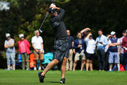 BEx-cricketer Kevin Pietersen plays a shot during the BMW PGA Championship Pro Am tournament at Wentworth on May 23, 2018 in Virginia Water, England.