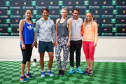 (L-R) Ana Ivanovic of Serbia, Rafael Nadal of Spain, Maria Sharapova of Russia, Roger Federer of Switzerland and Caroline Wozniacki of Denmark pose for a photo during day three of the BNP Paribas Open tennis at the Indian Wells Tennis Garden on March 11, 2015 in Indian Wells, California.