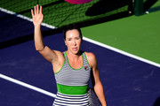 Jelena Jankovic of Serbia celebrates a straight set win over Irina Falconi at Indian Wells Tennis Garden on March 9, 2017 in Indian Wells, California.
