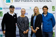 (L-R) Andy Roddick, Caroline Wozniacki, Maria Sharapova and Roger Federer pose for a photo prior to a press conference for the BNP Paribas Showdown on March 5, 2012 at the Essex House in New York City.