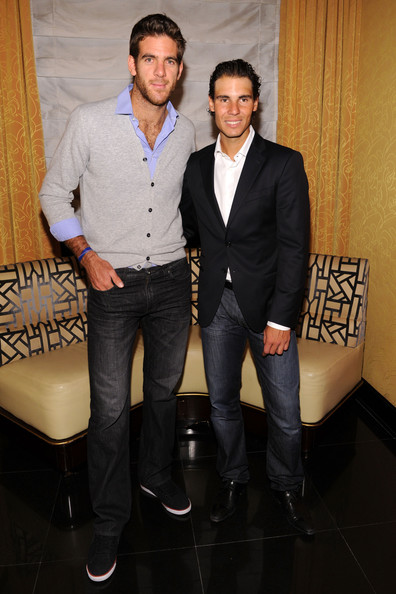 (L-R) Tennis players Juan Martin del Potro and Rafael Nadal attend the BNP Paribas Tennis Showdown cocktail party at Essex House on March 3, 2013 in New York City.