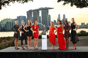 The 2018 BNP Paribas WTA Finals Singapore presented by SC Global returns to Singapore for the fifth consecutive year with the top women competing for $7 million in prize money from October 21 to October 28. This year's singles field poses with the Billie Jean King Trophy at Bay East Garden. Left to Right: Kiki Bertens of the Netherlands, Elina Svitolina of the Ukraine, Petra Kvitova of the Czech Republic, Caroline Wozniacki of Denmark, Angelique Kerber of Germany, Naomi Osaka of Japan, Sloane Stephens of the United States, Karolina Pliskova of the Czech Republic on October 19, 2018 in Singapore.