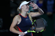 Caroline Wozniacki of Denmark reacts to match point in her singles match with Petra Kvitova of the Czech Republic prior to their singles match during day 3 of the BNP Paribas WTA Finals Singapore presented by SC Global at Singapore Sports Hub on October 23, 2018 in Singapore.