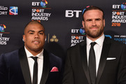 Kyle Sinckler (L) and Jamie Roberts (R) arrives at the red carpet during the BT Sport Industry Awards 2018 at Battersea Evolution on April 26, 2018 in London, England. The BT Sport Industry Awards is the largest commercial sports awards in the world. Bringing together sports stars, celebrities, senior decision makers, influencers and global media, the industry's most anticipated night of the year celebrates the very best work from across the sector.