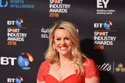 Chemmy Alcott arrives at the red carpet during the BT Sport Industry Awards 2018 at Battersea Evolution on April 26, 2018 in London, England. The BT Sport Industry Awards is the largest commercial sports awards in the world. Bringing together sports stars, celebrities, senior decision makers, influencers and global media, the industry's most anticipated night of the year celebrates the very best work from across the sector.