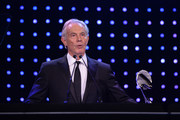 Tony Blair, former British Prime Minister presents the Social and Sustainable Development Award during the BT Sport Industry Awards 2019 at Battersea Evolution on April 25, 2019 in London, England. The BT Sport Industry Awards is the biggest commercial sports awards in the world and an annual showcase of the best of the sector's creative and commercial output. The event brings together sports stars, celebrities, industry leaders, influencers and media from around the world for what is always a highly anticipated occasion.