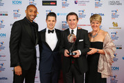 Clare Balding (R) and Thierry Henry (L) pose with AP McCoy (2R), winner of the Outstanding Contribution to Sport, sponsored by CWM Cyclong Promotions at the BT Sport Industry Awards 2015 at Battersea Evolution on April 30, 2015 in London, England. The BT Sport Industry Awards is the most prestigious commercial sports awards ceremony in Europe, where over 1750 of the industryÂ's key decision-makers mix with high profile sporting celebrities for the most important networking occasion in the sport business calendar.