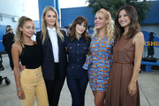 (L-R) Nicole Richie, Kelly Sawyer Patricof, Zooey Deschanel, Busy Philipps, and Norah Weinstein celebrate donation of One Million backpacks from Baby2Baby, Kawhi Leonard and the L.A. Clippers to students across Los Angeles at 107th Street Elementary on August 20, 2019 in Los Angeles, California.