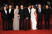"(2L-R) Actors Zhang Guo Li, Xu Fan, director Feng Xiaogang, actor Adrien Brody and Lara Lieto attend the ""Back To 1942"" Premiere during the 7th Rome Film Festival at the Auditorium Parco Della Musica on November 11, 2012 in Rome, Italy."