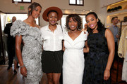 """(L-R) Mavis Spencer and actresses Emayatzy Corinealdi, Alfre Woodard and Anika Noni Rose attend the Badgley Mischka book signing to celebrate """"Badgley Mischka: American Glamour"""" on June 23, 2016 in Beverly Hills, California."""