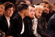 (L-R) Ross Lynch, Jaz Sinclair, Rome Flynn, guest, Neymar and Eric Choupo-Moting attend the Balmain Menswear Fall/Winter 2020-2021 show as part of Paris Fashion Week on January 17, 2020 in Paris, France.