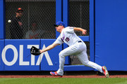 Right fielder Jay Bruce #19 of the New York Mets makes a catch on a ball hit by Chris Davis #19 of the Baltimore Orioles out during the seventh inning of a game at Citi Field on June 6, 2018 in the Flushing neighborhood of the Queens borough of New York City. The Orioles defeated the Mets 1-0.