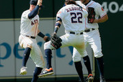 Derek Fisher #21 of the Houston Astros, Josh Reddick #22 and Jake Marisnick #6 celebrate after the final out against the Baltimore Orioles at Minute Maid Park on April 4, 2018 in Houston, Texas.