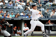 Matt Holliday #17 of the New York Yankees hits a solo home run in the first inning against the Baltimore Orioles on April 30, 2017 at Yankee Stadium in the Bronx borough of New York City.