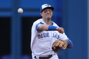 Troy Tulowitzki #2 of the Toronto Blue Jays throws out the baserunner in the third inning during MLB game action against the Baltimore Orioles at Rogers Centre on June 27, 2017 in Toronto, Canada.