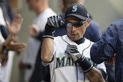 Ichiro Suzuki #51 of the Seattle Mariners jokes around in the dugout before a game against the Baltimore Orioles at Safeco Field on September 5, 2018 in Seattle, Washington. The Mariners game 5-3.