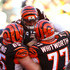 Andrew Whitworth Andy Dalton Photos - Andy Dalton #14 of the Cincinnati Bengals is congratulated by Clint Boling #65 of the Cincinnati Bengals and Andrew Whitworth #77 of the Cincinnati Bengals after scoring the the game winning touchdown during the fourth quarter of the game against the Baltimore Ravens at Paul Brown Stadium on October 26, 2014 in Cincinnati, Ohio. Cincinnati defeated Baltimore 27-24. - Baltimore Ravens v Cincinnati Bengals