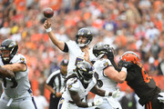 Joe Flacco #5 of the Baltimore Ravens throws a pass in the first quarter against the Cleveland Browns at FirstEnergy Stadium on October 7, 2018 in Cleveland, Ohio.