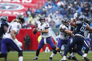 Joe Flacco #5 of the Baltimore Ravens throws a pass against the Tennessee Titans during the first quarter at Nissan Stadium on October 14, 2018 in Nashville, Tennessee.